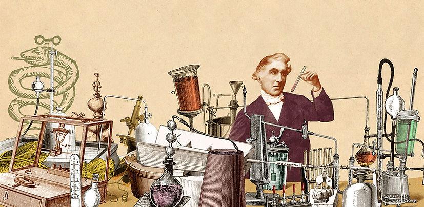 Hubert Warter - Illustration - Chemie - Labor - experimentieren - Reagenzgläser - chemistry - laboratory - experiment - test tubes - Justus von Liebig