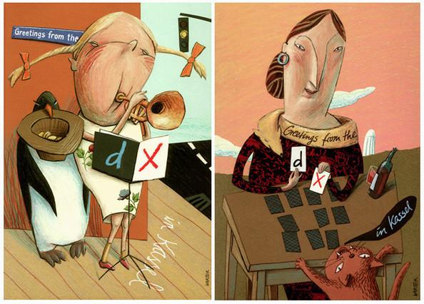 Hubert Warter - Illustration - Postkarte - Ansichtskarte - documenta X - Mädchen - Trompete - Karten legen - Postcard - Picture postcard - documenta X - Girl - Trumpet - Laying cards