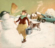 Hubert Warter - Illustration - Mädchen - Winter - Schneemann - Hund - Schnee - spielen - Auto reparieren - girl - winter - snowman - dog - snow - playing - car repair