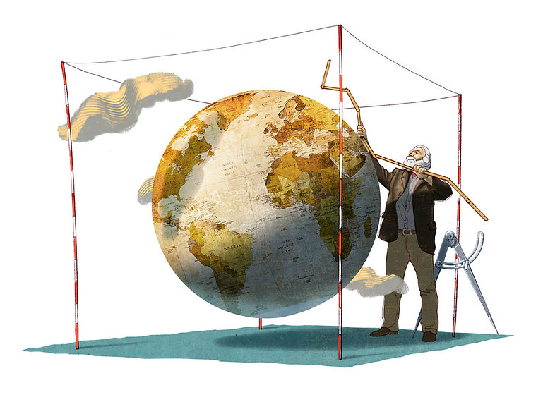 Hubert Warter - Illustration - Welt - Erde - Vermessung - World - Earth - Surveying - Everest