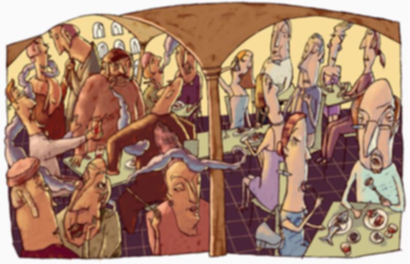 Hubert Warter - Illustration - Kneipe - Restaurant - essen - Kommunikation - pub - restaurant - eating - communication
