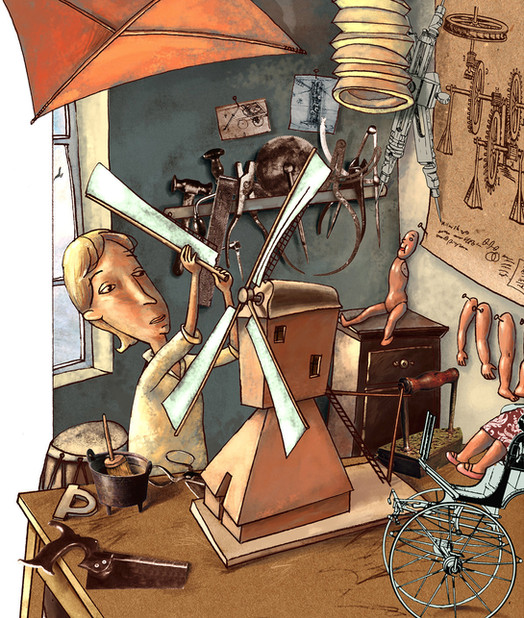 Hubert Warter - Illustration - Junge - Kind - basteln - Hobby - Windmühle - Boy - Child - handicraft - Hobby - Windmill