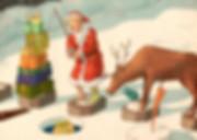 Hubert Warter - Illustration - Weihnachtsmann - Rentier - Geschenke - angeln - Santa Claus - reindeer - gifts - fishing