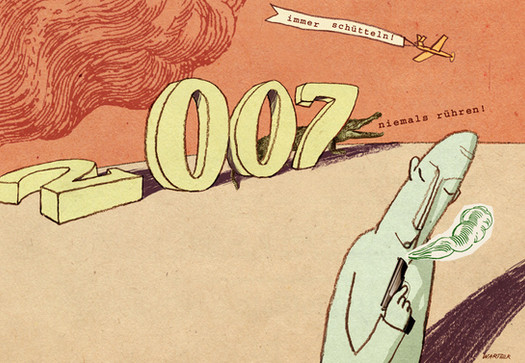Hubert Warter - Illustration - Karte - Neujahrskarte - 2007 - Krokodil - Pistole - James Bond - New Year card - 2007 - Crocodile - Pistol - James Bond