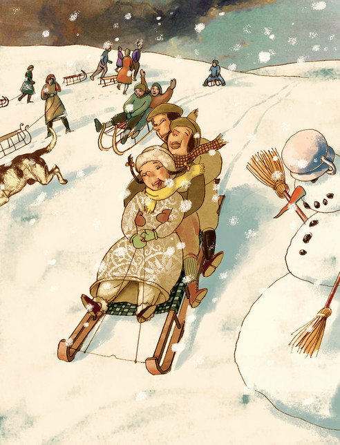Hubert Warter - Illustration - Kinder - Winter - schlittenfahren - Schlitten - Schneemann - Children - Winter - sledging - sleigh - snowman
