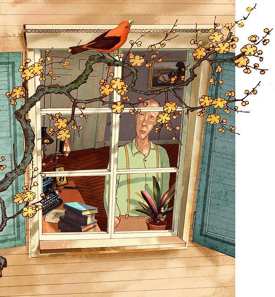 Hubert Warter - Illustration - Fenster - Vogel - sinnieren - Vogelgesang - Ast - Window - Bird - ponder - birdsong - branch