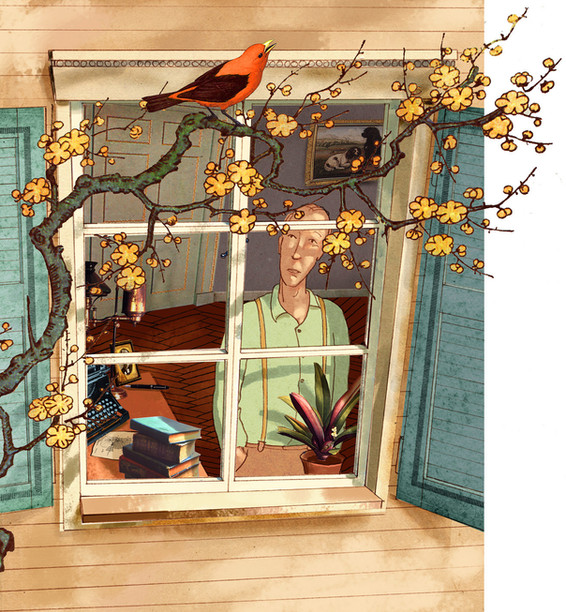 Hubert Warter - Illustration - Fenster - Vogel - sinnieren - Vogelgesang - Ast - Window - Bird - ponder - birdsong - branch