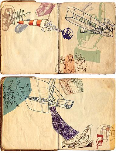 Hubert Warter - Illustration - Skizzen - Skizzenbuch - fliegen - Flugversuch - Sketches - Sketchbook - flying - flight test