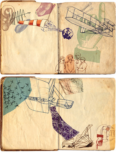 Hubert Warter - Illustration - Skizzen - Skizzenbuch - fliegen - Flugversuch - Sketches - Sketchbook - flying - flight test