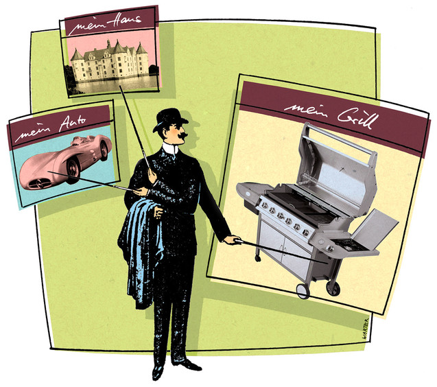 Hubert Warter - Illustration - Snob - Reichtum - protzen - angeben - Grill - snob - wealth - show off