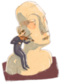 Hubert Warter - Illustration - Freudentränen - Ergriffenheit - weinen - Tränen - Musik - Geige - tears of joy - emotion - crying - tears - music - violin
