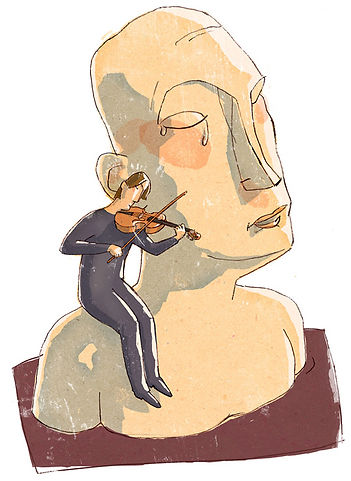 Hubert Warter - Illustration - Freudentränen - Ergriffenheit - weinen - Tränen - Musik - Geige - tears of joy - emotion - crying - tears - music - violin