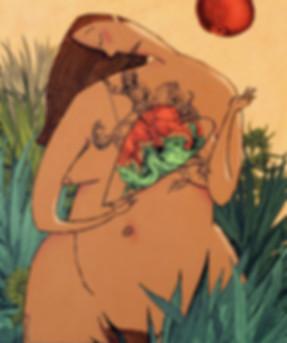Hubert Warter - Illustration - Eva - nackt - Sünde - Apfel - Ambivalenz - Herz - Eve - naked - sin - apple - ambivalence - heart