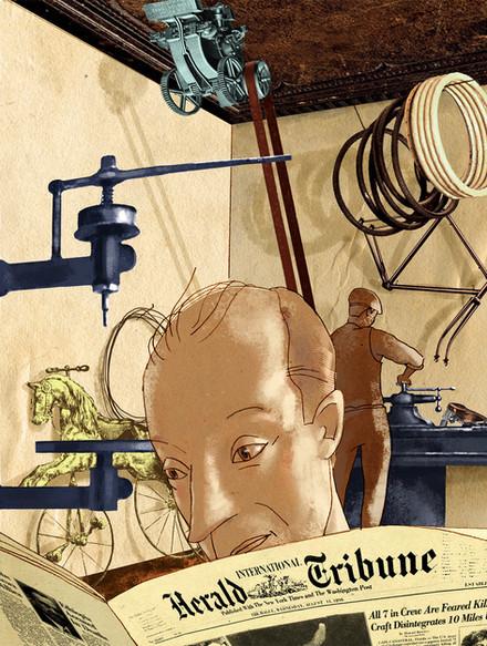 Hubert Warter - Illustration - Werkstatt - Fahrradwerkstatt - Zeitung - lessen - Herald Tribune - workshop - bicycle repair shop - newspaper