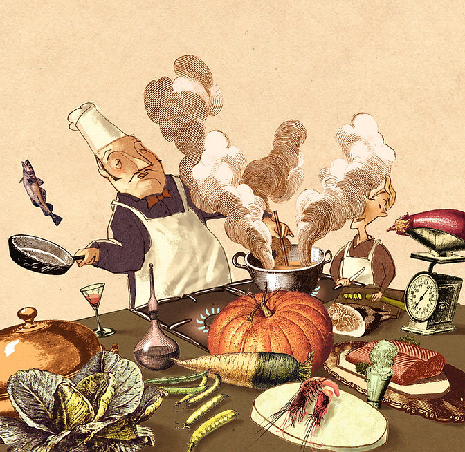 Hubert Warter - Illustration - kochen - Koch - Küche - cooking - cook - kitchen