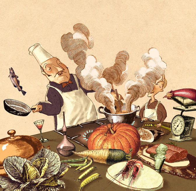 Hubert Warter - Illustration - kochen - Koch - Küche - cooking - cook - kitchen