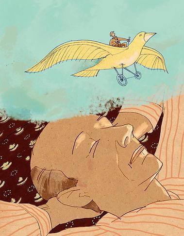 Hubert Warter - Illustration - träumen - Traum - fliegen - Fluggerät - dreaming - flying - aircraft