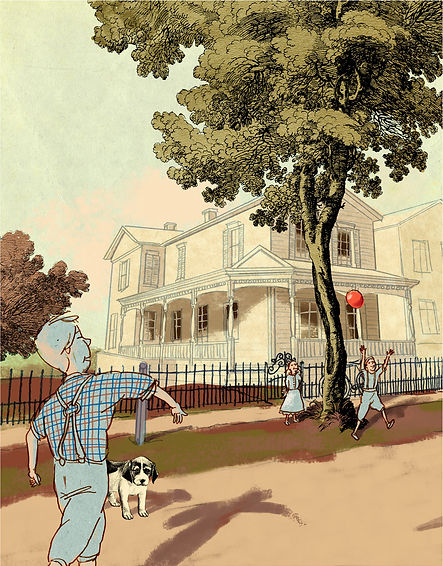 Hubert Warter - Illustration - Kinder - spielen - Straße - Ball - Children - play - street - ball