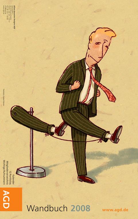 Hubert Warter - Illustration - Mann - Selbstmotivation - Motivation - Arschtritt- Man - Self-motivation - Motivation - Ass-kicking