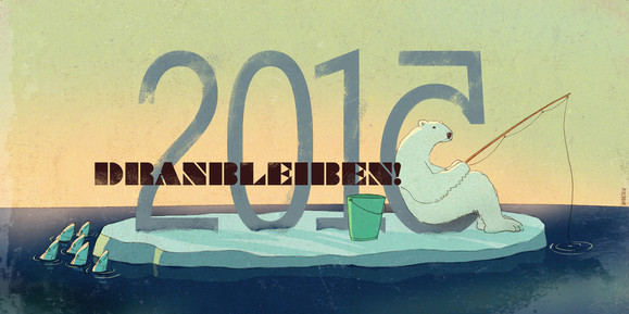 Hubert Warter - Illustration - Karte - Neujahrskarte - 2015 - Eisbär - Fische - angeln - Norpol - Eisscholle - falschrum - Geduld - New Year's card - 2015 - polar bear - fish - fishing - Norpol - ice floe - upside down - patience