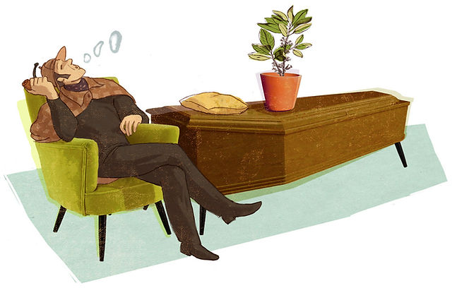 Illustration - Sherlock Holmes - Siegmund Freud - coffin