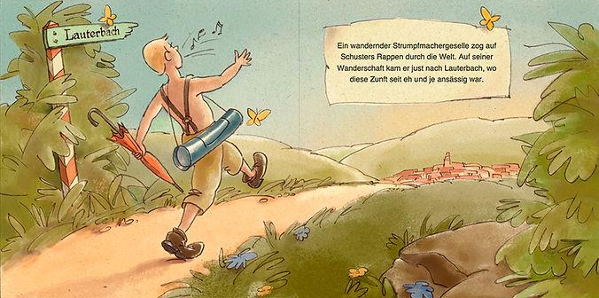 Hubert Warter - Illustration - Junge - fröhlich - wandern - Regenschirm - Weg - Landschaft - Dorf - boy - happy - hiking - umbrella - path - landscape - village