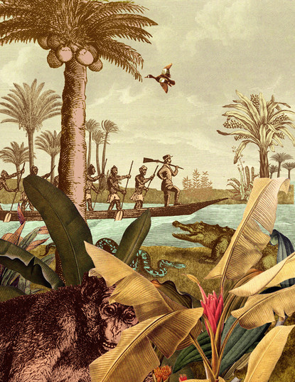 Hubert Warter - Illustration - Dschungel - Expedition - Afrika - Fluss - Livingstone - Jungle - Expedition - Africa - River