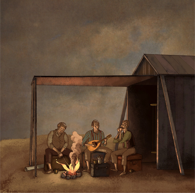 Hubert Warter - Illustration - Feuer - Lagerfeuer - Laute - Mundharmonika - musizieren - fire - campfire - lute - harmonica - making music