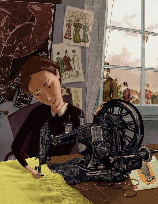 Hubert Warter - Illustration - nähen - Nähmaschine - Mode - Steiff - sewing - sewing machine - fashion