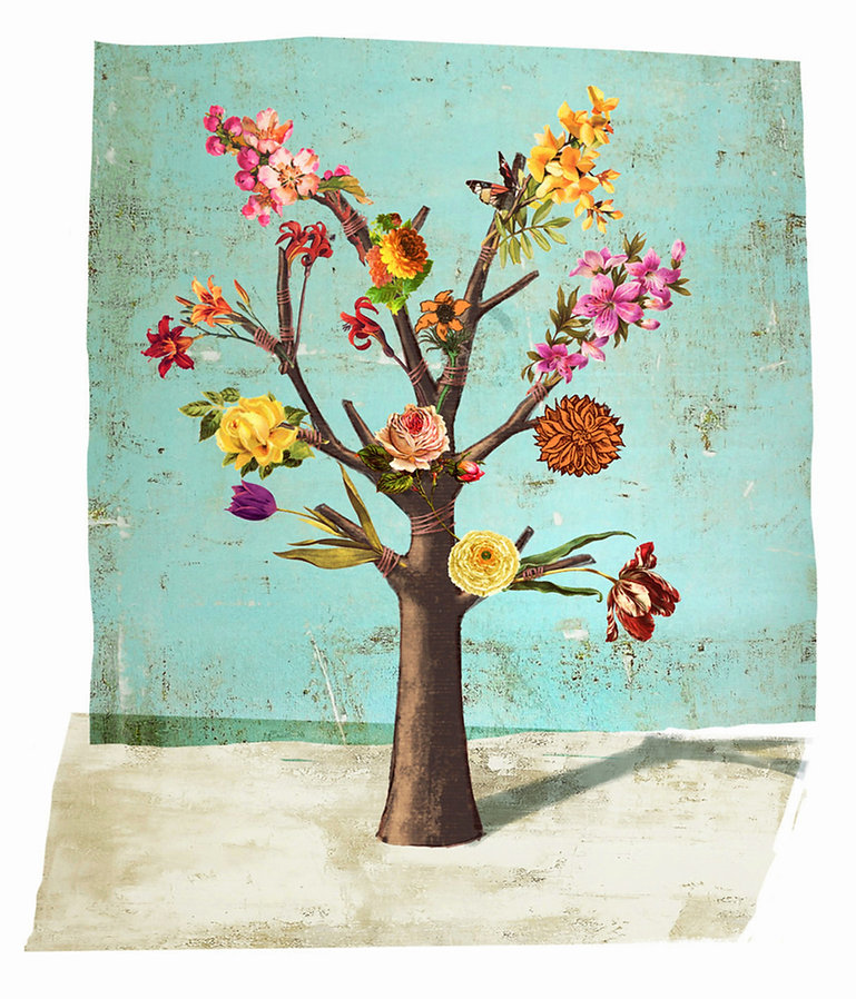 Hubert Warter - Illustration - Baum - Blumen - Fake - Täuschung - Irreführung - Tree - Flowers - Fake - Deception - Misleading
