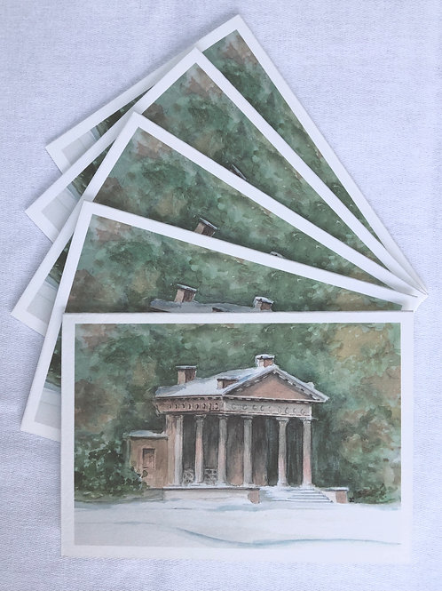Winter, Stowe Western Lake Pavilion - A6 Cards - Pack of 5  (Landscape)