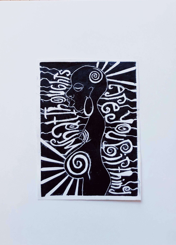 'What Thought's?' Linoeleum Block Print.2019.