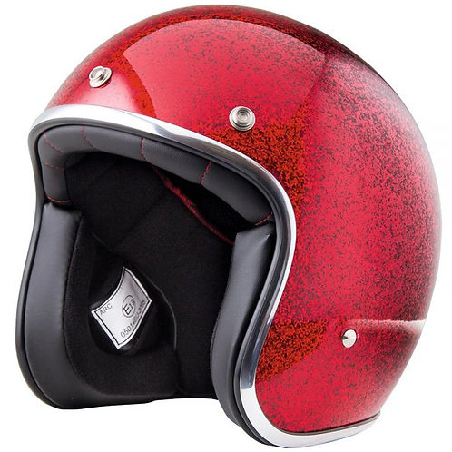 CASCO MOTO JET  RETRO' CUSTOM GLITTER RED STROMER