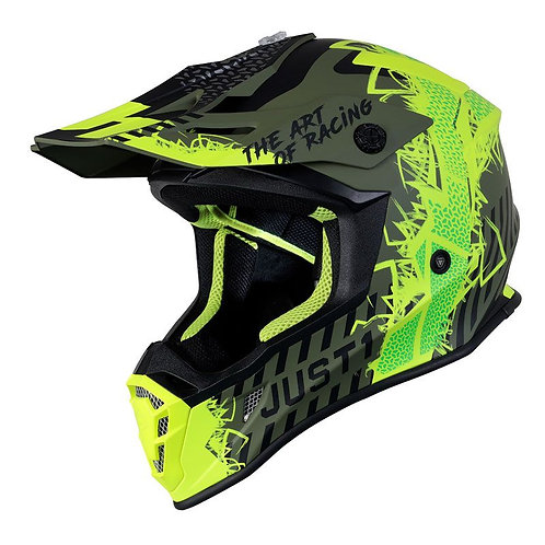 CASCO CROSS JUST J38 MASK FLUO YELLOW BLCK ARMYGREEN MATT2021