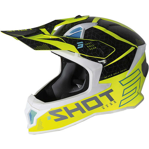 CASCO MOTO CROSS ENDURO  FIBRA SHOT LITE CORE NEON YELLOW BLACK