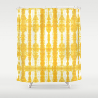 Tiki Shibori Yellow Shower Curtain