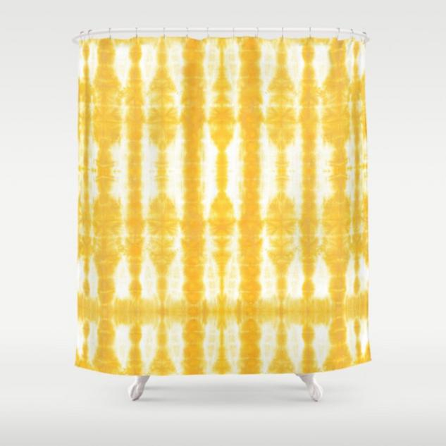 Tiki Shibori Yellow Shower Curtain