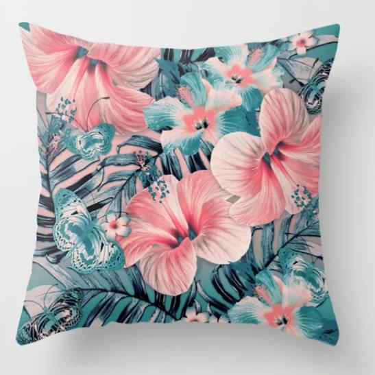 Vintage Jade Coral Aloha Pillow