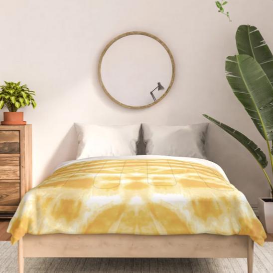 Yellow Tie Dye Twos Comforter