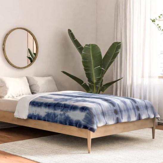 Tiki Shibori Blue Cotton Comforter