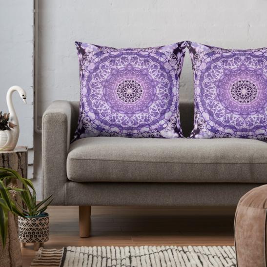 Tie Dye Mandala Jain Purple Throw Pillows