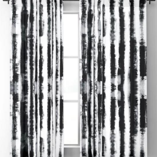 Tie-Dye Shibori Stripe BW Blackout Curtains