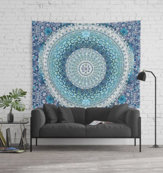 Aqua Tapestry Mandala Tapestry