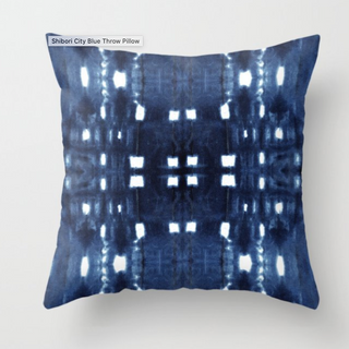 Shibori City Throw Pillow