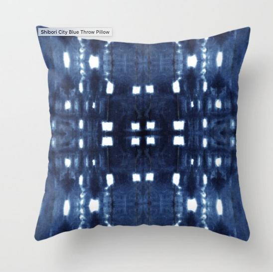 Shibori City Throw Pillow