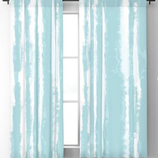 Shibori Stripe Seafoam Blackout Curtains