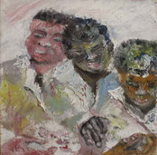 Portrait of three men sitting together doing an activity