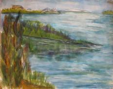 Water colour lake landscape