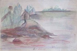 Landscape of a little house on a hill surrounded by a lake