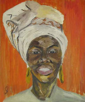 Portrait of a Black woman wearing a white head wrap and large gold earrings with an orange